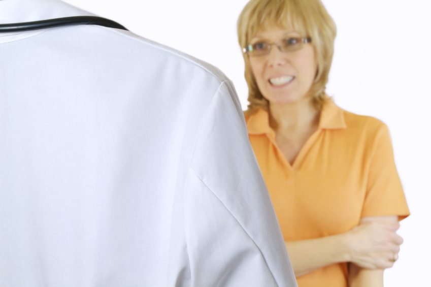 women talking with doctor