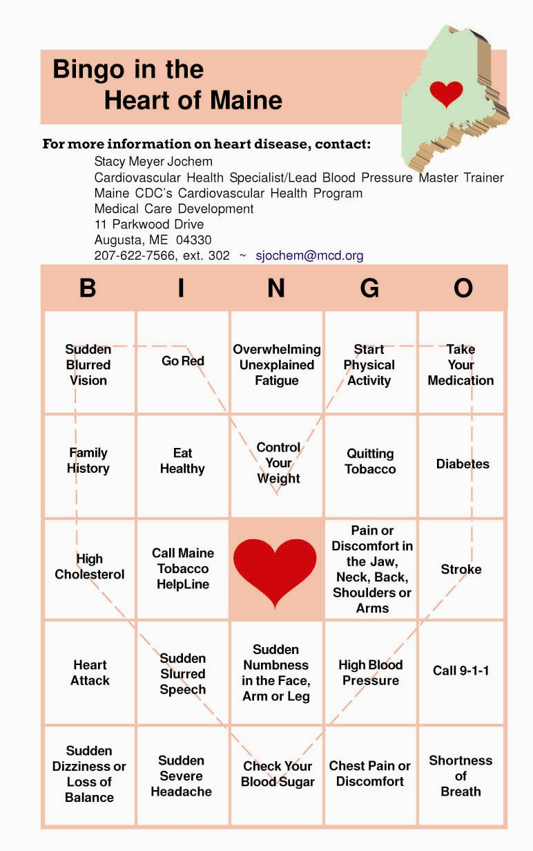 Heart Healthy Bingo Card